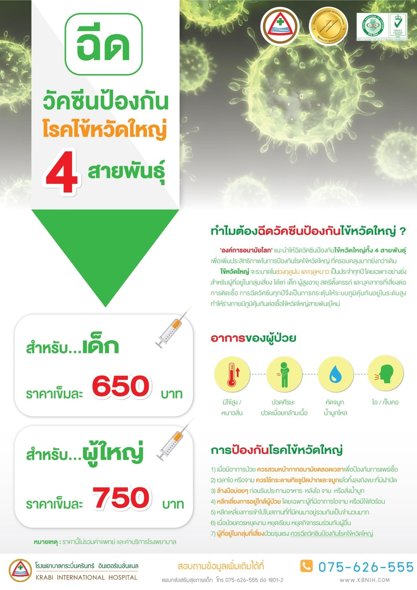 วัคซีนป้องกันโรคไข้หวัดใหญ่ 4 สายพันธุ์
